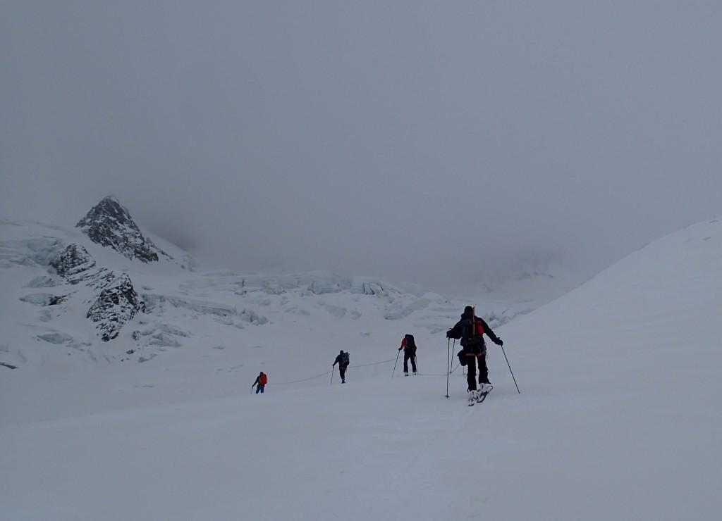 Anseilen am Gletscher, Blue Ice