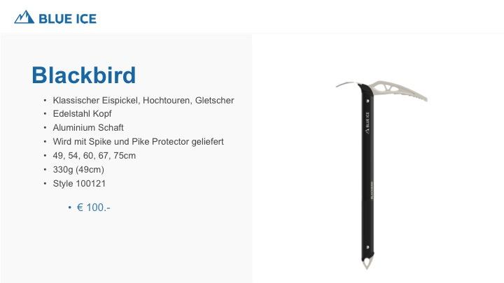 Klassischer Eispickel für Hochtour und Gletscher, Edelstahl Kopf und Alu Schaft. Wird mit Spike und Pike Protector geliefert.