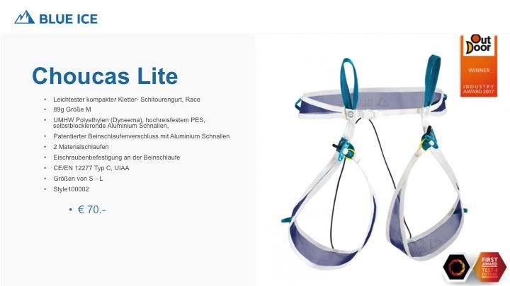 Der Choucas Lite von Blue Ice ist mit 89g der leichteste Race Gurt, Dyneema, patentierter Verschluss der Beinschlaufen, Eisschraubenhalterung, auch als Hochtourengurt verwendbar.