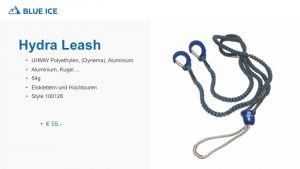 Die Hydra Leash von Blue Ice verhindert das verlieren der Eisgeräte und verhindert durch den integrierten Alukreisel das eindrehen der Leash.